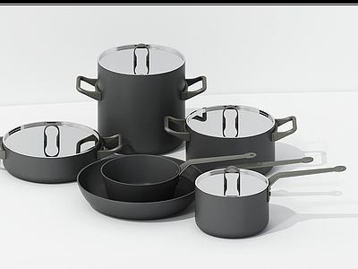 現代廚房高品質鍋鍋組合模型3d模型