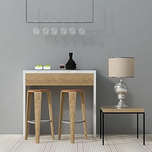 3d北欧简约桌椅组合模型