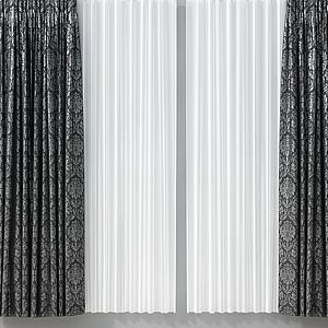 3d現代輕奢花紋窗簾模型