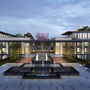 新中式別墅會所模型