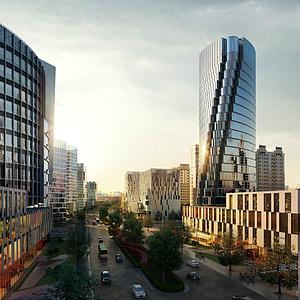 现代办公楼商业街
