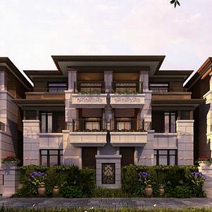 3d新中式别墅模型