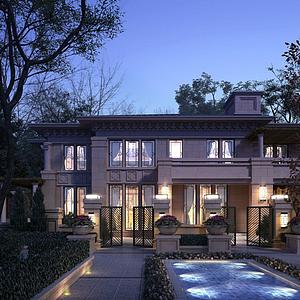 新中式別墅模型