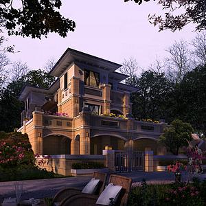 歐式獨棟別墅模型