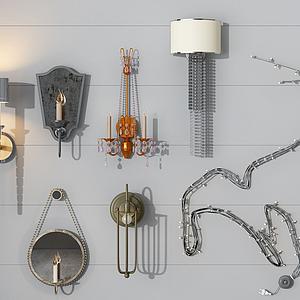 各種風格壁燈組合模型