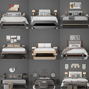 床頭柜臺燈組合模型
