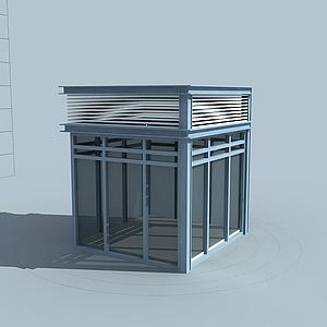 3d學校門衛保安亭模型