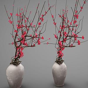 新中式風格盆栽梅花盆景模型