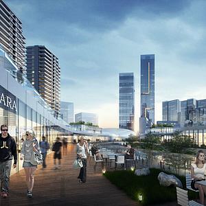 3d現代辦公商業街模型
