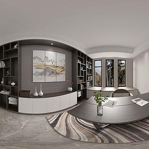 新中式書房全景模型