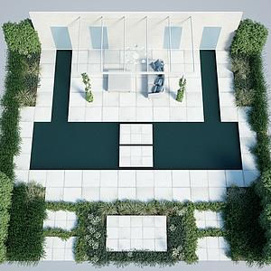屋頂花園庭院景觀綠化模型