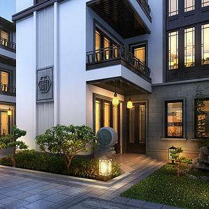 3d中式古建別墅模型