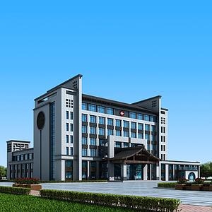 新中式醫院辦公樓模型