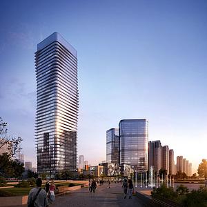 3d現代辦公樓商業街模型
