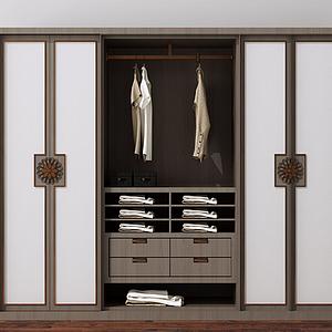 3d新中式实木衣柜模型