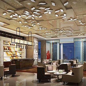 3d酒店奢华大堂模型