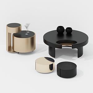 現代小茶幾凳子組合模型