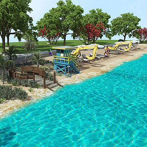 3d沙灘魚塘模型