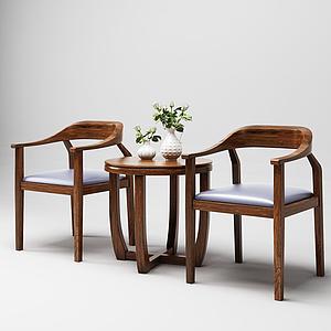 3d新中式桌椅模型