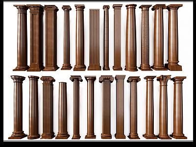 歐式羅馬柱組合模型3d模型