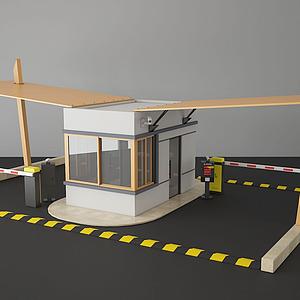 現代停車場收費亭門禁亭模型