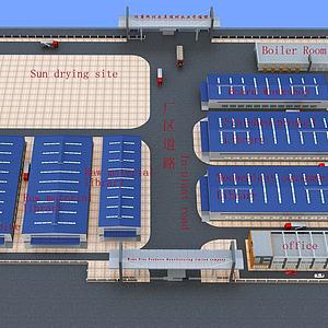 工業廠房建筑鳥瞰模型