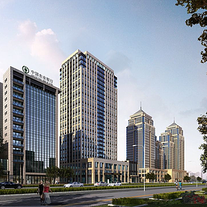 3d中式現代辦公商業街模型