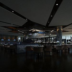 高端餐廳模型