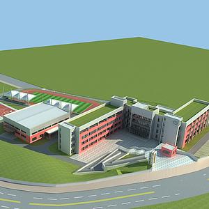 3d現代學校模型