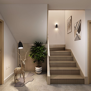3d北歐樓梯間模型