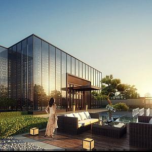 現代酒店會所外觀模型