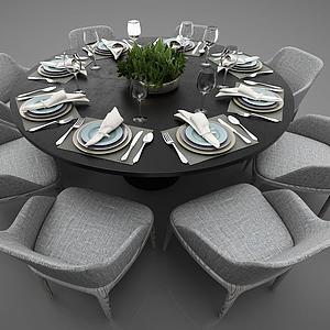 現代風格圓形餐桌模型