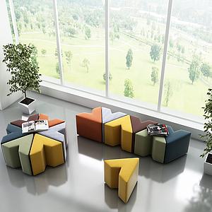 3d现代几何沙发组合模型