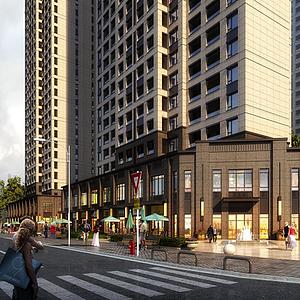 新中式古典商業街模型