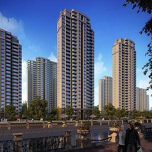 3d新古典住宅景观模型