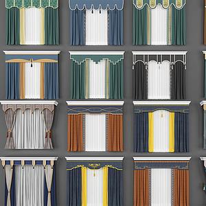 3d新中式窗簾組合模型