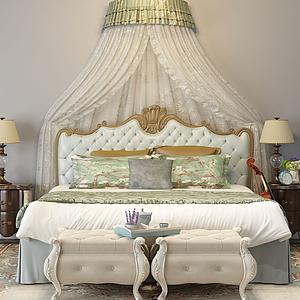 美式床模型