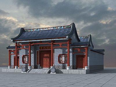 3d祠堂古建模型