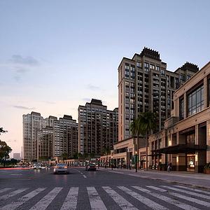 3d新中式商業住宅樓模型