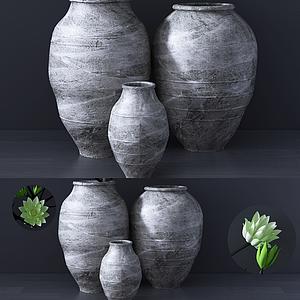 新中式陶罐擺件模型