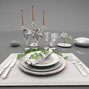 現代廚房廚具餐具電器組合模型