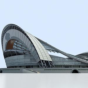 3d現代體育館足球場模型