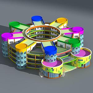 3d现代幼儿园<font class='myIsRed'>大楼</font>模型