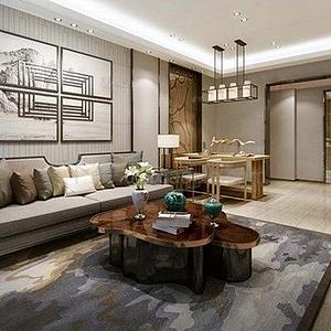 新中式客餐廳沙發模型