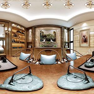 歐式客廳餐廳模型