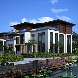 3d新中式別墅小區透視模型