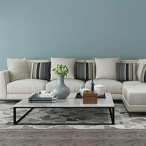 现代沙发茶几模型