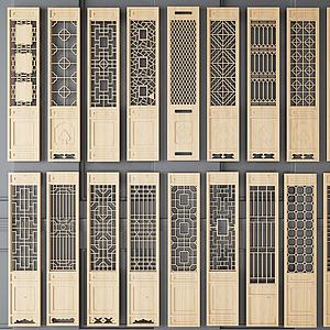 新中式屏風鏤空隔斷組合模型