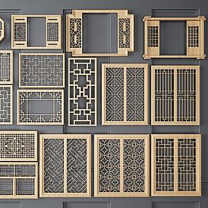 新中式鏤空裝飾隔斷組合模型