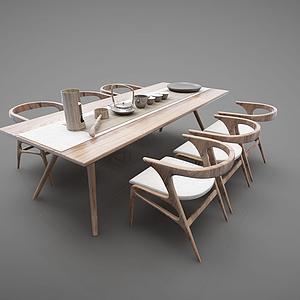 3d<font class='myIsRed'>新中式茶桌</font>餐桌模型